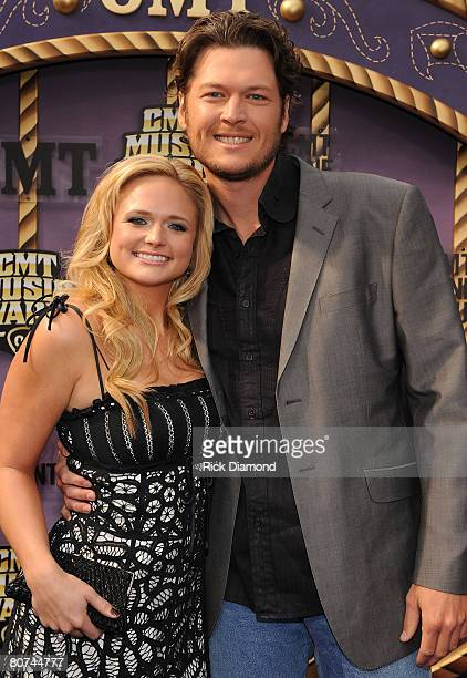 Musicians Miranda Lambert and Blake Shelton attends the 2008 CMT Music Awards at Curb Event Center at Belmont University on April 14 2008 in...