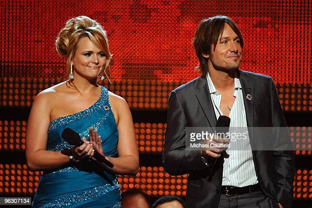 Musicians Miranda Lambert Keith Urban onstage at the 52nd Annual GRAMMY Awards held at Staples Center on January 31 2010 in Los Angeles California