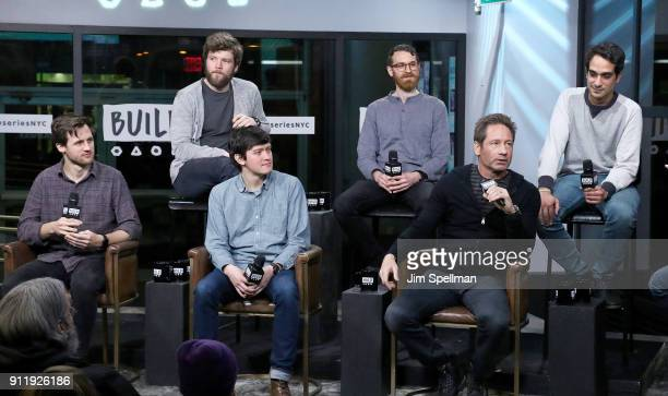 Musicians Mitchell Stewart Keenan O'Meara Colin Lee Pat McCusker David Duchovny and Sebastian Modak attend the Build Series to discuss to discuss...