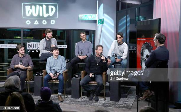 Musicians Mitchell Stewart Keenan O'Meara Colin Lee Pat McCusker David Duchovny Sebastian Modak and host Ricky Camilleri attend the Build Series to...