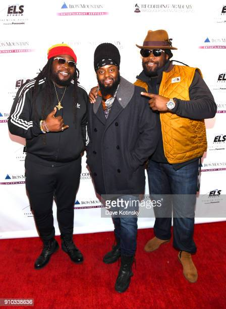Musicians Mojo Morgan Peetah Morgan and Gramps Morgan of Morgan Heritage attend the Producers and Engineers Wing 11th Annual GRAMMY Week Event...
