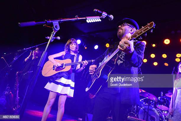 Musicians Molly Tuttle and Dave Stewart of the Eurythmics perform on stage at The Roxy Theatre on December 8 2014 in West Hollywood California