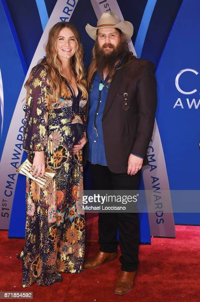 Musicians Morgane Stapleton and Chris Stapleton attend the 51st annual CMA Awards at the Bridgestone Arena on November 8 2017 in Nashville Tennessee