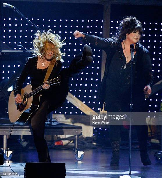 Musicians Nancy Wilson and Ann Wilson from the band Heart perform onstage during the 2nd annual VH1 Rock Honors held at the Mandalay Bay Events...