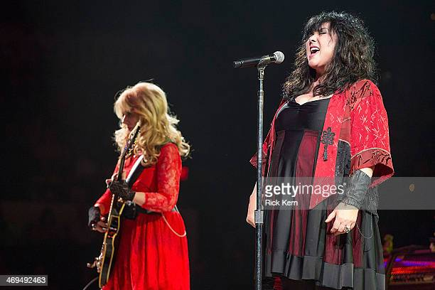 Musicians Nancy Wilson and Ann Wilson of Heart perform in concert as part of the San Antonio Stock Show Rodeo at the ATT Center on February 14 2014...