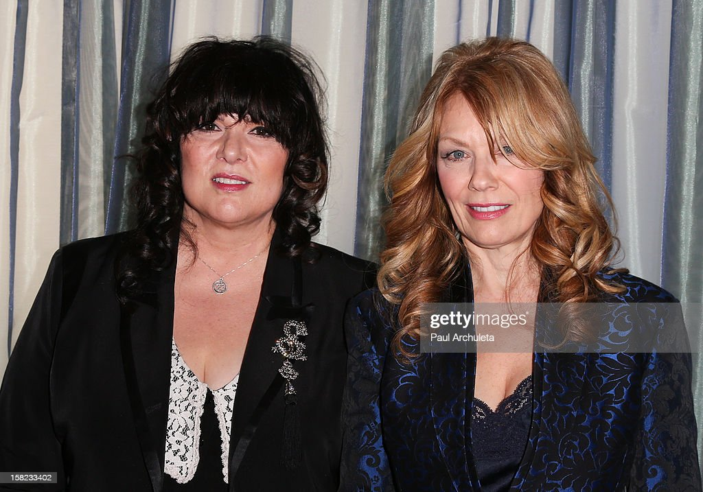 Musicians Nancy Wilson (R) and Ann Wilson (L) of the Rock Band Heart attend the announcements for the 2013 inductees to the 28th annual Rock And Roll Hall of Fame induction ceremony at Nokia Theatre LA Live on December 11, 2012 in Los Angeles, California.