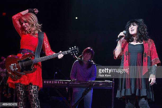 Musicians Nancy Wilson Debbie Shair and Ann Wilson of Heart perform in concert as part of the San Antonio Stock Show Rodeo at the ATT Center on...