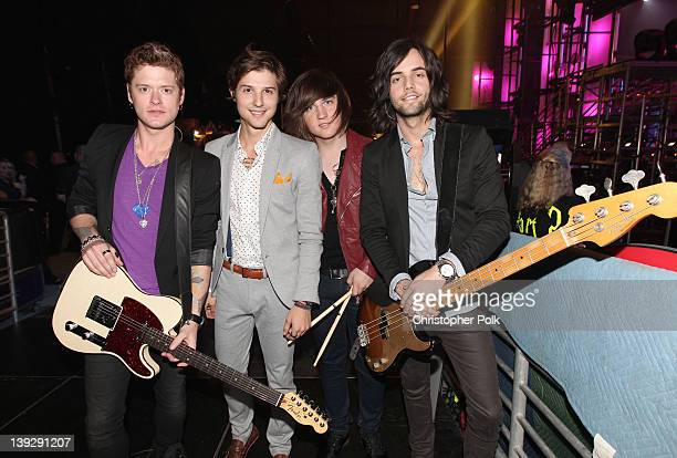 Musicians Nash Overstreet Ryan Follese Jamie Follese and Ian Keaggy of Hot Chelle Rae attend the 2012 Cartoon Network Hall of Game Awards at Barker...