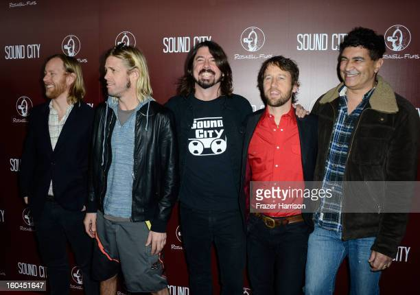 Musicians Nate Mendel Taylor Hawkins Dave Grohl Chris Shiflett and Pat Smear of Foo Fighters arrive at the Premiere Of 'Sound City' at ArcLight...
