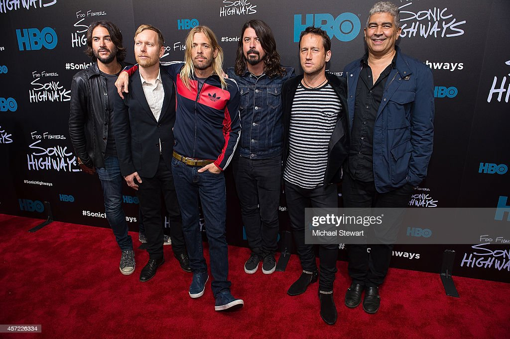 Musicians Nate Mendel, Taylor Hawkins, Dave Grohl, Chris Shiflett and Pat Smear of The Foo Fighters attend 'Foo Fighters: Sonic Highways' New York Premiere at Ed Sullivan Theater on October 14, 2014 in New York City.