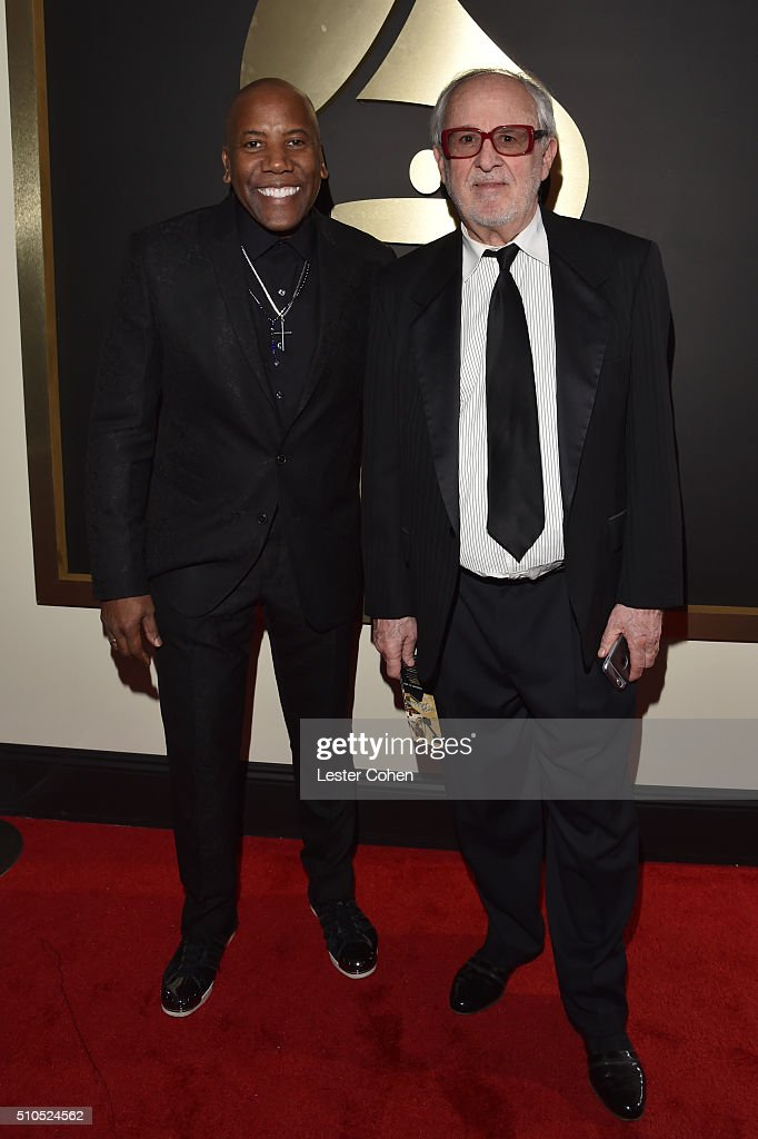 Musicians Nathan East (L) and Bob James attend The 58th GRAMMY Awards at Staples Center on February 15, 2016 in Los Angeles, California.