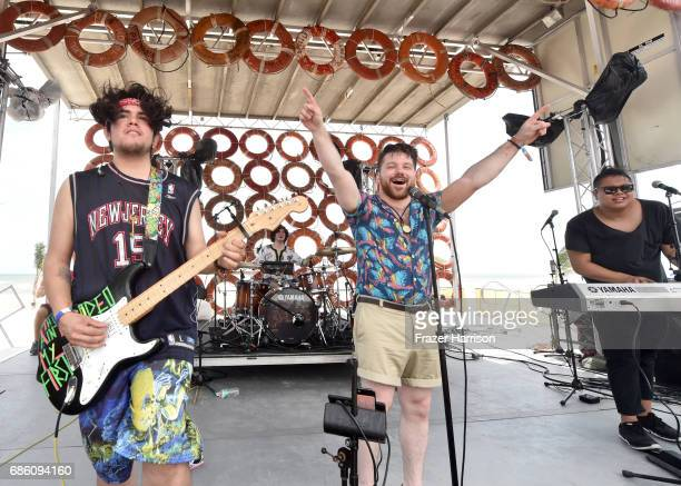 Musicians Nathan Esquite Zachary Hannah and David Labuguen of the band A R I Z O N A perform at the BMI Stage during 2017 Hangout Music Festival on...
