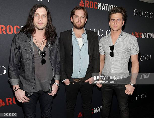Musicians Nathan Followill Caleb Followill and Jared Followill of the band Kings Of Leon arrive at the Gucci and RocNation PreGRAMMY brunch held at...