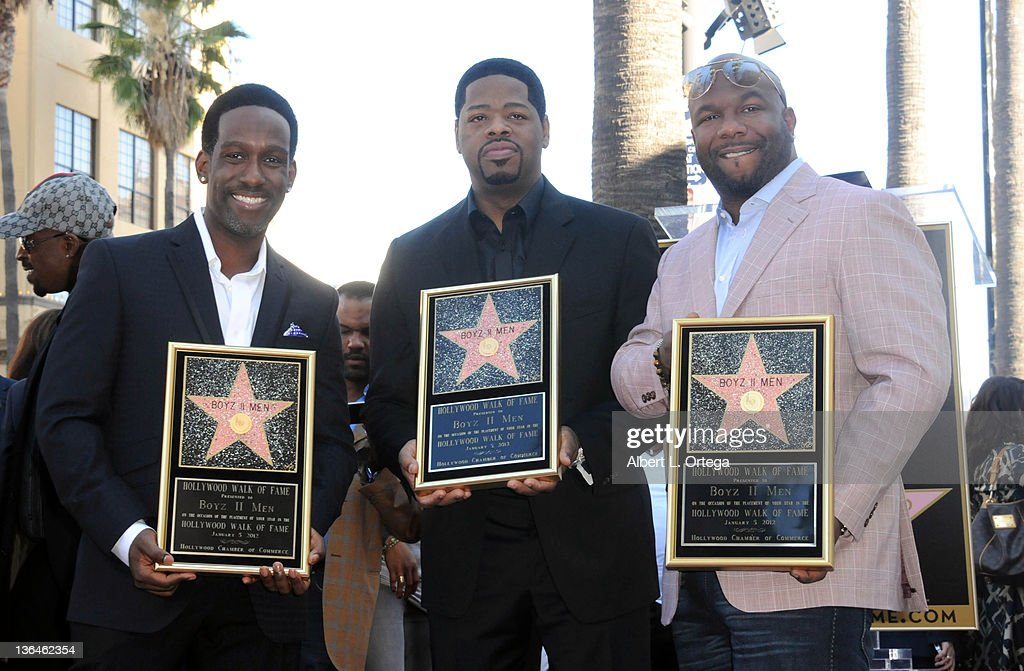 Musicians Nathan Morris, Shawn Stockman and Wanya Morris of Boyz II Men Honored On The Hollywood Walk Of Fame held at 7060 Hollywood Blvd on January 5, 2012 in Hollywood, California.