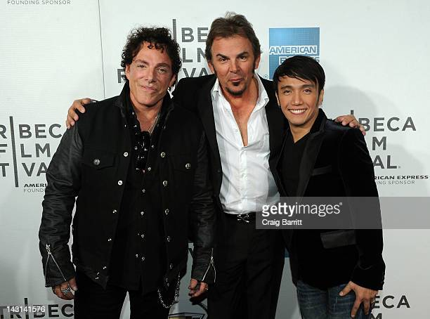 Musicians Neal Schon Jonathan Cain and Arnel Pineda of Journey attend the Don't Stop Believin' Everyman's Journey Premiere during the 2012 Tribeca...