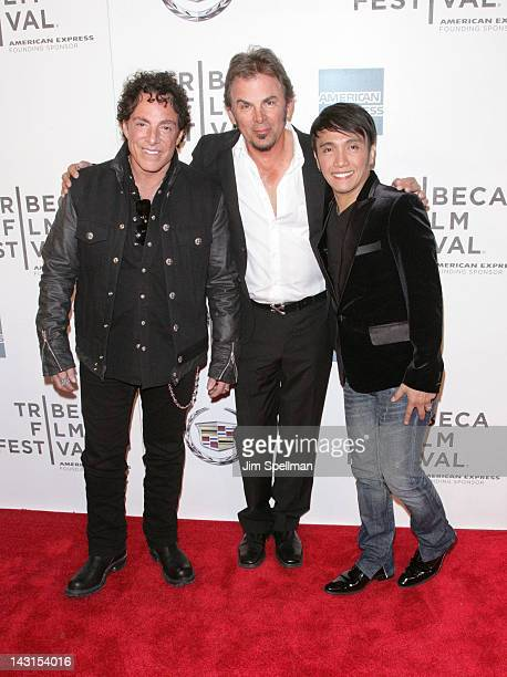 Musicians Neal Schon Jonathan Cain and Arnel Pineda of Journey attend the premiere of 'Don't Stop Believin' Everyman's Journey' during the 2012...
