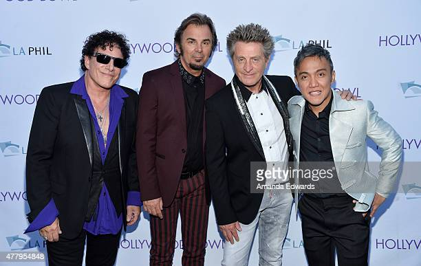Musicians Neal Schon Jonathan Cain Ross Valory and Arnel Pineda of the band Journey attend the 2015 Hollywood Bowl Opening Night at The Hollywood...