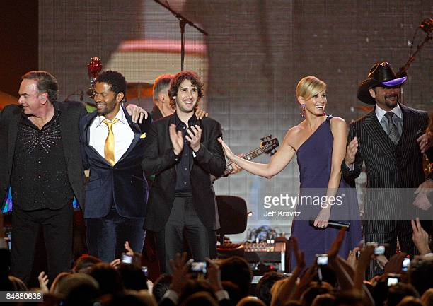 Musicians Neil Diamond, Eric Benet, Josh Groban, Faith Hill and Tim McGraw perform at the 2009 MusiCares Person of the Year Tribute to Neil Diamond...