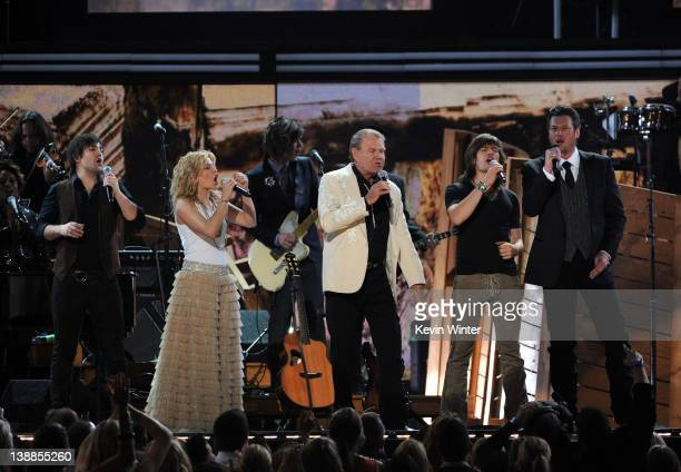Musicians Neil Perry and Kimberly Perry of The Band Perry Glen Campbell Reid Perry of The Band Perry and Blake Shelton perform onstage at the 54th...