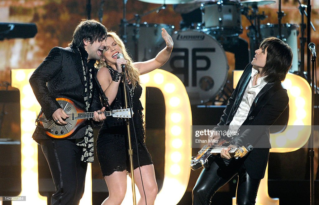 Musicians Neil Perry, Kimberly Perry and Reid Perry of The Band Perry perform onstage at the 47th Annual Academy Of Country Music Awards held at the MGM Grand Garden Arena on April 1, 2012 in Las Vegas, Nevada.