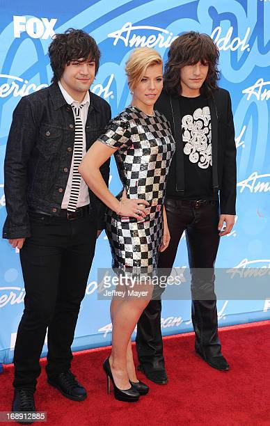 Musicians Neil Perry Kimberly Perry and Reid Perry of the Band Perry arrive at FOX's 'American Idol' Grand Finale at Nokia Theatre LA Live on May 16...