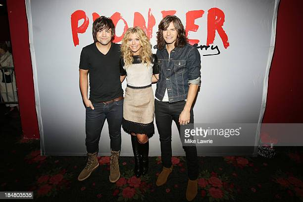 Musicians Neil Perry Kimberly Perry and Reid Perry of The Band Perry pose backstage at Roseland Ballroom on October 16 2013 in New York City