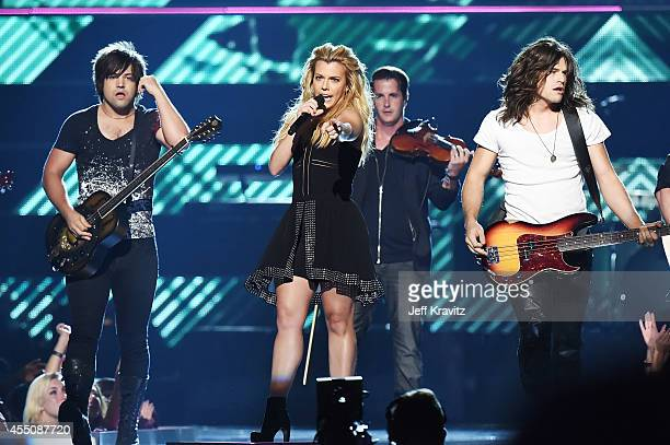 Musicians Neil Perry Kimberly Perry and Reid Perry of The Band Perry perform at Fashion Rocks 2014 at the Barclays center on September 9 2014 in New...