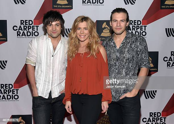 Musicians Neil Perry Kimberly Perry and Reid Perry of The Band Perry attend Red Carpet Radio Backstage at the GRAMMYs presented by Westwood One...