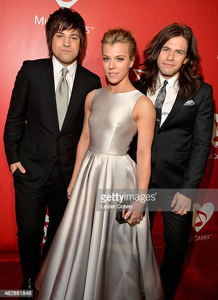 Musicians Neil Perry Kimberly Perry and Reid Perry of The Band Perry attend the 25th anniversary MusiCares 2015 Person Of The Year Gala honoring Bob...