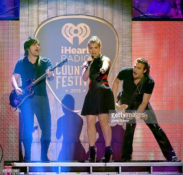 Musicians Neil Perry Kimberly Perry and Reid Perry of The Band Perry perform onstage during the 2015 iHeartRadio Country Festival at The Frank Erwin...