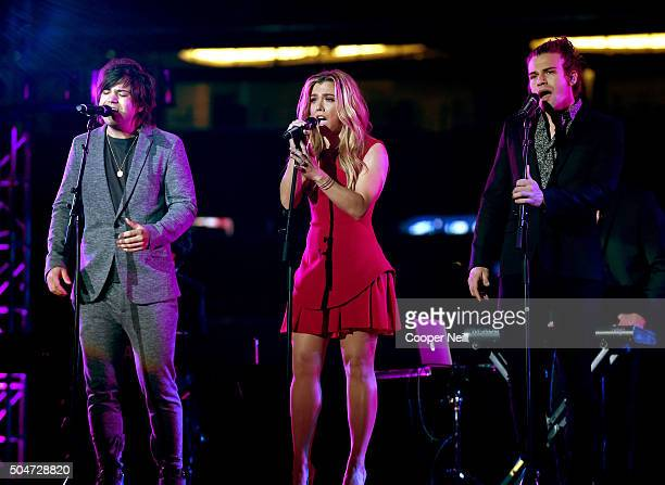 Musicians Neil Perry Kimberly Perry and Reid Perry of The Band Perry perform at the Dallas Premiere of the Paramount Pictures film '13 Hours The...