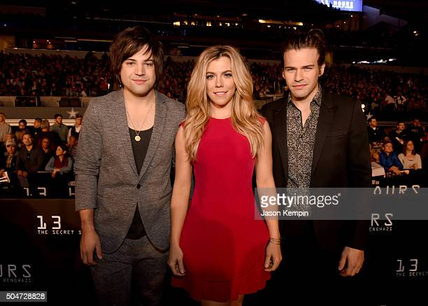 Musicians Neil Perry Kimberly Perry and Reid Perry of The Band Perry attend the Dallas Premiere of the Paramount Pictures film '13 Hours The Secret...