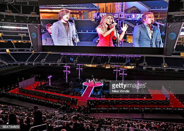Musicians Neil Perry Kimberly Perry and Reid Perry of The Band Perry perform onstage during the Dallas Premiere of the Paramount Pictures film '13...