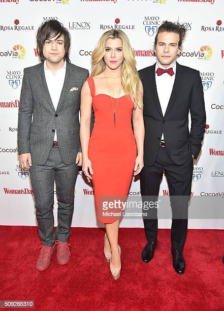 Musicians Neil Perry Kimberly Perry and Reid Perry of The Band Perry attend the 2016 Woman's Day Red Dress Awards on February 9 2016 in New York City