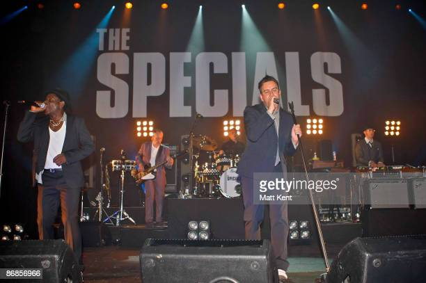 Musicians Neville Staple Horace Panter John Bradbury and Terry Hall of The Specials performs on stage at Brixton Academy on May 8 2009 in London...