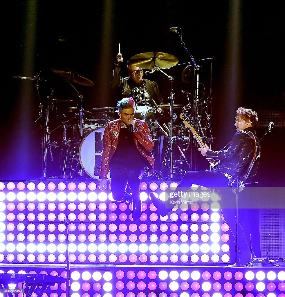 Musicians Nicholas Petricca, Sean Waugaman and Kevin Ray of Walk The Moon perform onstage during the 2015 American Music Awards at Microsoft Theater on November 22, 2015 in Los Angeles, California.