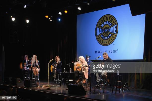 Musicians Nick Annis Kesha Maren Morris Bennett Lewis Emmylou Harris and Vince Gill perform onstage at the Country Music Hall of Fame and Museum's...