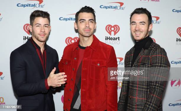 Musicians Nick Jonas, Joe Jonas and Kevin Jonas arrive at iHeartRadio's Z100 Jingle Ball 2019 at Madison Square Garden on December 13, 2019 in New...