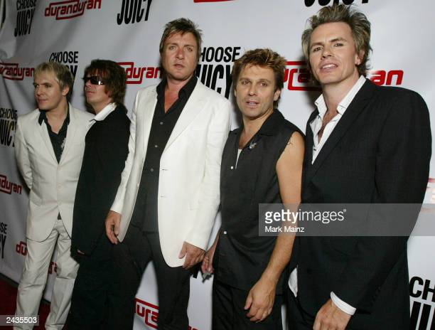 Musicians Nick Rhodes Andy Taylor Simon Le Bon Roger Taylor and John Taylor arrive for Duran Duran's 25th Anniversary Concert at Webster Hall August...