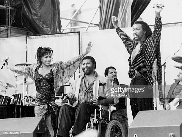 Musicians Nickolas Ashford Valerie Simpson and Teddy Pendergrass attending 'Live Aid Concert' on July 13 1985 at the JFK Stadium in Philadelphia...