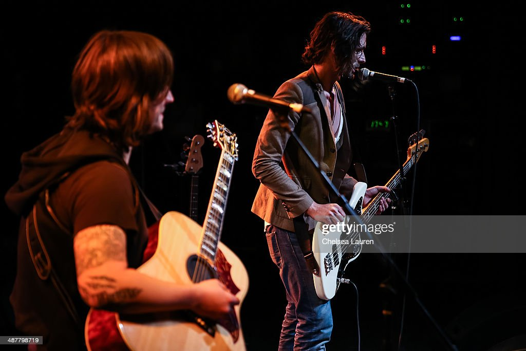 Musicians Nickolas Von Wheeler (L) and Tyson Ritter of The All-American Rejects perform at Lyme Light: the concert benefiting the tick-borne disease alliance at El Rey Theatre on May 1, 2014 in Los Angeles, California.