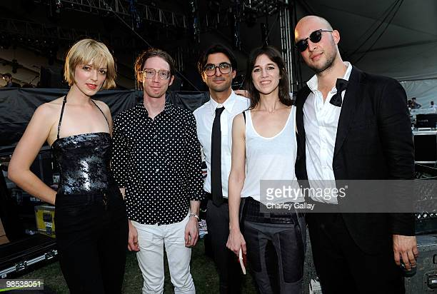 Musicians Nicole Moire Bram Inscore Amir Yaghmai Charlotte Gainsbourg and Brian LeBarton pose backstage during day 3 of the Coachella Valley Music...