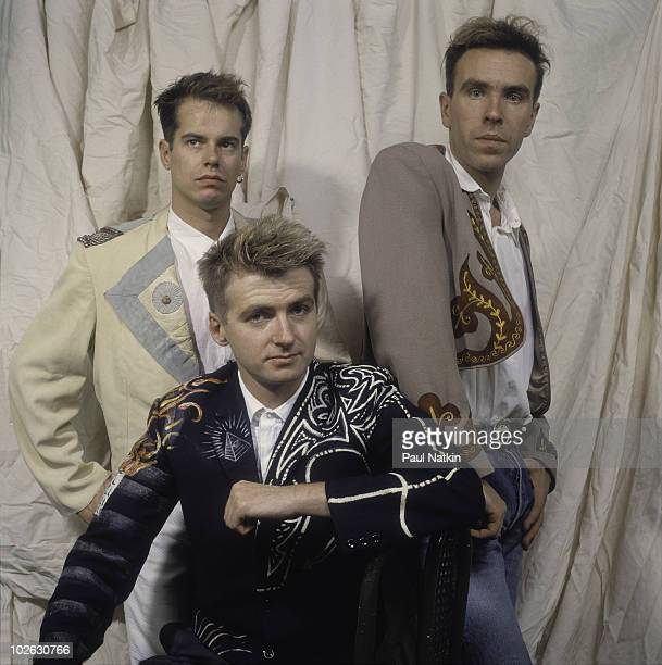 Musicians Niel Finn Nick Seymour and Paul Hester of the band Crowded House at the Coronado Theater on March 14 1987 in Rockford Illinois