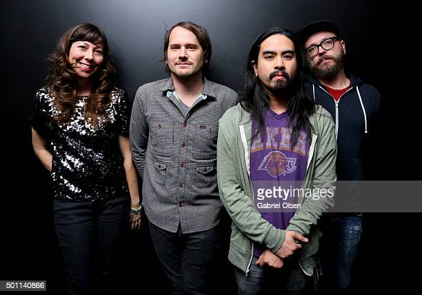 Musicians Nikki Monninger Brian Aubert Christopher Guanlao and Joe Lester of Silversun Pickups attend 1067 KROQ Almost Acoustic Christmas 2015 at The...