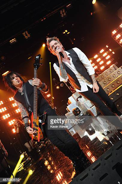 Musicians Nikki Sixx and James Michael of Sixx AM perform for iHeartRadio Live at The iHeartRadio Theater Los Angeles on October 7 2014 in Burbank...