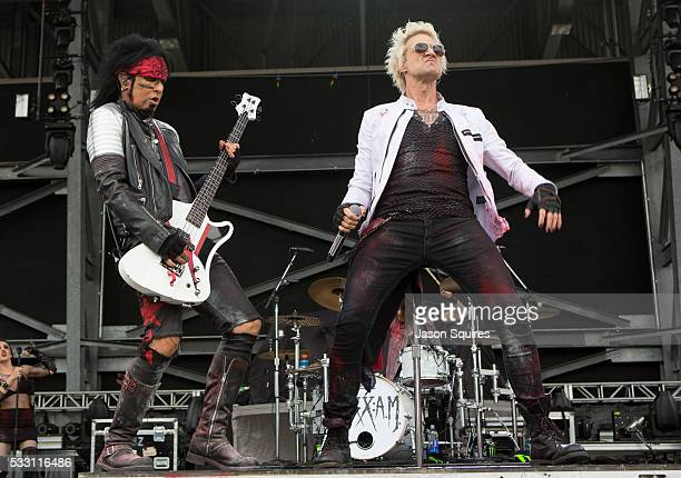 Musicians Nikki Sixx and James Michael of SixxAM perform at MAPFRE Stadium on May 20 2016 in Columbus Ohio