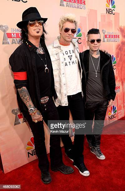 Musicians Nikki Sixx James Michael and DJ Ashba of SixxAM attends the 2015 iHeartRadio Music Awards which broadcasted live on NBC from The Shrine...