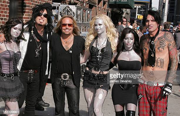 Musicians Nikki Sixx Vince Neil Tommy Lee of Motley Crue and the Motley Girls visit the Late Show with David Letterman at Ed Sullivan Theatre on June...