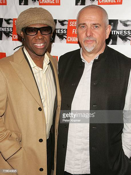 Musicians Nile Rodgers and Peter Gabriel attend the second annual gala dinner and concert to benefit Witness which helps promote human rights causes...