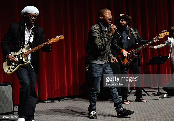 Musicians Nile Rodgers Pharrell Williams and Don Was perform onstage during A Conversation About the 56th GRAMMYS And Beatles Show at Leonard H...